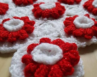 Sparkly red and white baby blanket