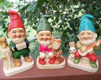 Vintage Ceramic Porcelain Elf/Gnome Musician Figurines by Homco. Marked #5201. Set of 3.