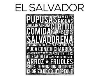 El Salvador Food Subway Art Print - El Salvador Food Poster - Kitchen Poster - Kitchen Wall Art - Food Poster - Food Art Print