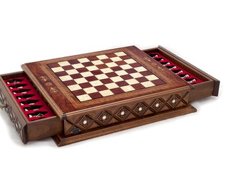 Istanbul Chess Set | Chess Board with Drawers and Classy Metal Figures | Rosewood , Mother of Pearl, Metal | Gift for Chess Lovers