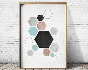 Wall Art Prints Living Room Nordic Style Hexagon Wall Art Nordic Wall Art Prints Scandinavian Poster Modern Wall Art Contemporary Wall Art