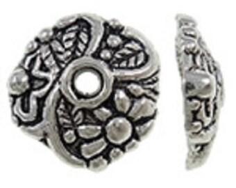 12pc antique silver finish 13mm metal bead caps-5180F