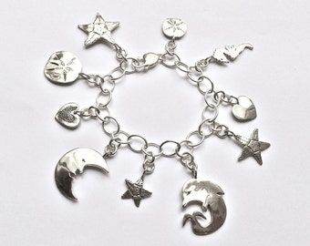 Ocean Love Loaded Charm Bracelet Made from Silver Vintage American Dime, Quart and Half Dollar Coins