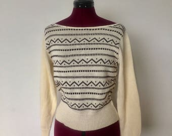 70s Cream Sweater Striped Boat Neck Long Sleeve Knit Size S M by Pykettes