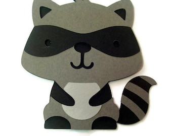 Raccoon Card - Woodland Baby - Raccoon - Shaped Cards - Cards for Children - Animal Cards  - Gray Raccoon
