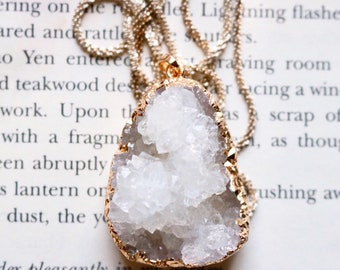 Gold Plated White Druzy Necklace, gold plated gemstone Necklace, Electroformed, crystal druzy