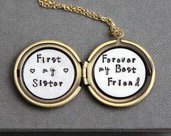 First My Sister Forever My Best Friend Necklace, Sister Necklace, Sister Gift, Birthday Gift Sister, Gift for Sister, Gold Locket Necklace