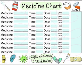 Medicine Tracker Sheet/cute/keep the fun/medicine chart/tracker