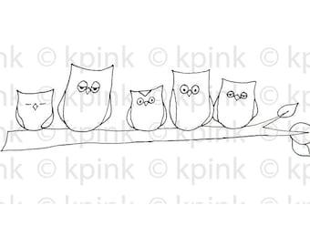 Five Owls - I Dig Digi Stamp