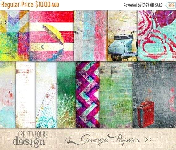 70% OFF Sale Digital paper, Digital Scrapbook paper pack - Instant download - 12 Digital Papers - Grunge textured
