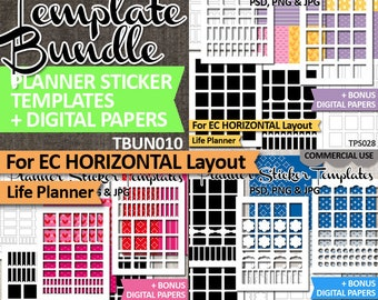 Bundle sale, EC Horizontal layout, Planner stickers templates DIY kit, life planner template, commercial use, instant download