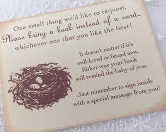 Bring a Book Insert Card Baby Shower Invitation Insert Bird Nest Set of 10