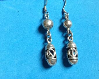Vintage! Long dangling silver tone fancy bead pierced earrings.
