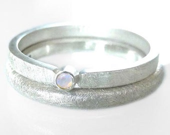 Silver ring with OPAL Stacking ring, sterling silver & genuine white opal - handmade by SILVERLOUNGE