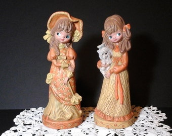70s Mod Girl Figurines, Tall, Big Eyed Girl Statues in Oranges and Yellows