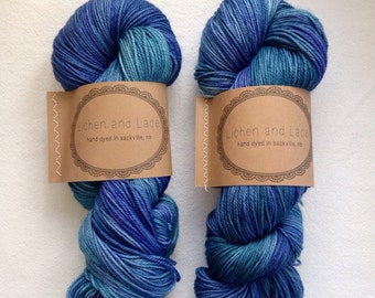 Blue Lagoon ~ Lichen and Lace Hand Dyed Yarn