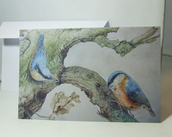 """greeting card with print from an original painting made by me """"Nuthatches in oak tree"""", birthday, housewarming, moving, anniversary"""