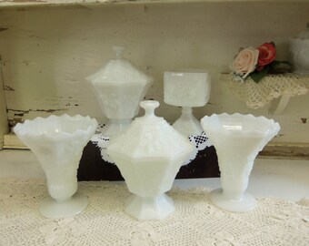 5 Piece Anchor Hocking White or Milk Glass Grape Pattern Planter Vases and Candy Dish Set Vintage Wedding B838
