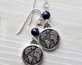 Earth earrings with Blue Lapis beads / Large Silver Earth Earrings / Globe earrings / Travel earrings / Environment / Graduation Gift /Lapis