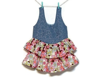 Girls Denim Jumper Dress Floral Cotton Ruffles Girls size 6X