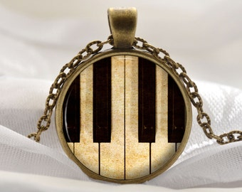 Piano Pendant - Music Lovers Necklace - Musical Jewelry Gift for Women - Piano Keys