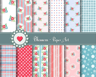 Flowers, Pink, Light Blue, Digital Papers, DIY Projects, Decoupage, Scrapbooking, Cardmaking, Party - 1401