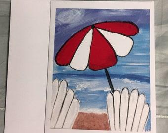 Note Card Umbrella at the Beach