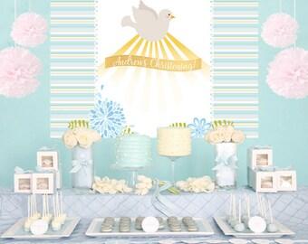 Religious Blue Dove Personalized Backdrop -Baptism Cake Table Backdrop Birthday-Communion Backdrop