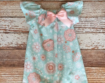 Easter Dress - Spring Dress - Floral Peasant Dress - Girl, Toddler Girl, Baby Girl - Size 12M thru 11/12 - Spa Blue, Blush Pink