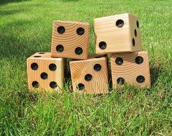 5 (five) LARGE wooden set of dice for Yardzee or Yahtzee, outdoor yard game, family fun, outside dice game, picnics