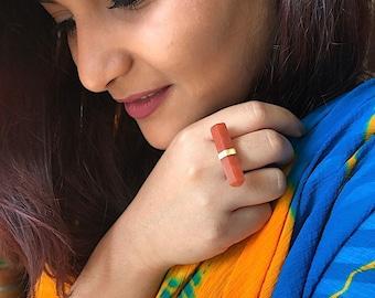 Gemstone Stacking Ring from Enhara Jewels, Gemstone Arrow Ring, Red Bar Ring, Delicate Ring