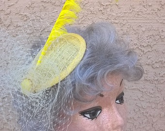 Yellow Fascinator with Long Yellow Pheasant Feather and Vintage Schiaparelli Accent - Head Piece Hair Accessory Bridesmaid Races Hat