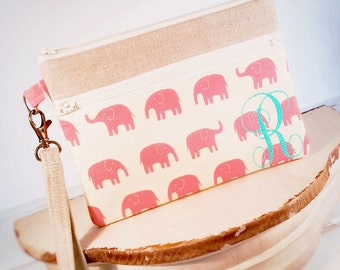 Monogrammed Linen Pink Elephants Wristlet Zipper Clutch Purse Cell Phone Wallet iPhone Sleeve Mobile Accessories blackberry Nexus Case