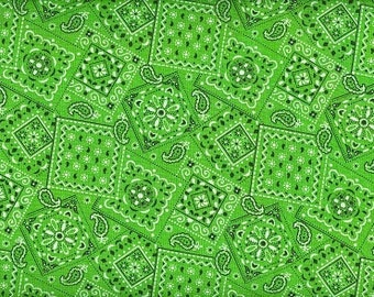 Bandana cowgirl lime green fabric100 percent cotton BTY