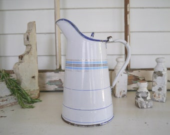 Vintage French Enamel Pitcher with Lid, White with Blue Stripes