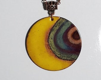 Torch fired copper enameled moon necklace with flame painted copper detail