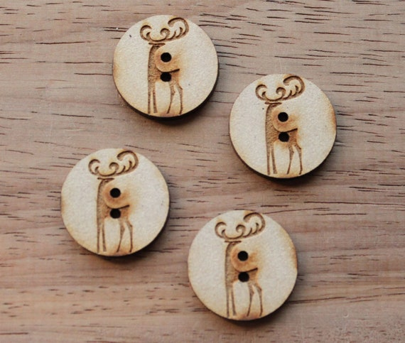 8 pieces. Reindeer.Round Buttons, 2.5 cm Buttons -Acrylic and Wood Laser Cut-Jewelry Supplies-Little Laser Lab Wood and Acrylic Products