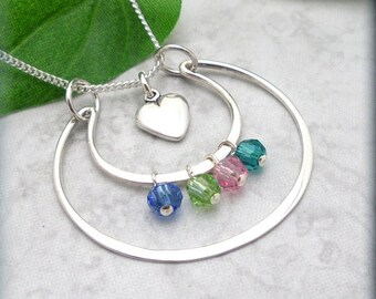 Mothers Day Birthstone Necklace, Family Birthstone, Grandmother, Nana, Love You to the Moon and Back, Sterling Silver, Mommy Jewelry