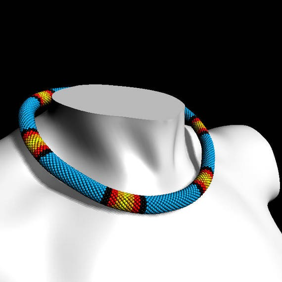 Pdf Beaded Crochet Rope Pattern Huichol Necklace Pattern Beadwork