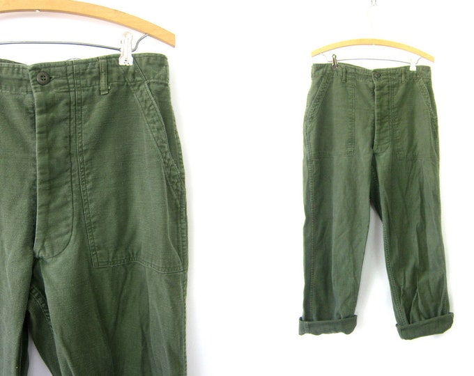 Authentic US Army Pants Vintage United States Military Button Fly Utility Cargo Trousers Green Fatigues Urban Grunge Punk Size 34 x 32
