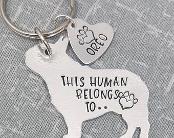 French Bulldog - This Human Belongs To.. Personalised Dog Keyring - Dog Lover - Dog Mum - Gift