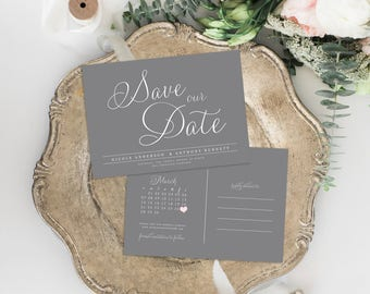 Rustic Save the Date, Save the Date Postcard, Save the Date Calendar, Printable Save the Date, Kraft Paper Save the Date