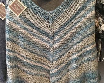 Hand Knit Poncho in Denim Blue and Gray