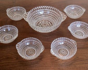 Vintage Pressed Glass Bowl Berry or Salad Set with 6 Bowls
