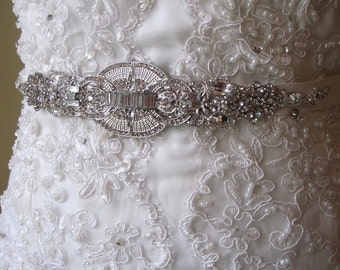 Tracy Wedding Crystal Embellished Beaded Sash Belt Applique