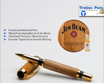 Fathers Day Gift - Jim Beam Wood Pen - Handmade Wooden Rollerball Writing Pen  Perfect for Collectors or as a Gift for a Drinker - 22kt Gold