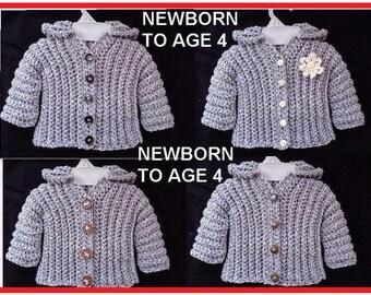 Crochet Pattern - Baby Sweater, Crochet pattern for kids, babies, Newborn to Age 4, Comfort Sweater #780-A