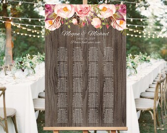 Wedding Seating Chart Template, Boho Chic Floral Wedding Table Plan, Rustic Seating Board, Plan, #A060, INSTANT DOWNLOAD, Editable PDF