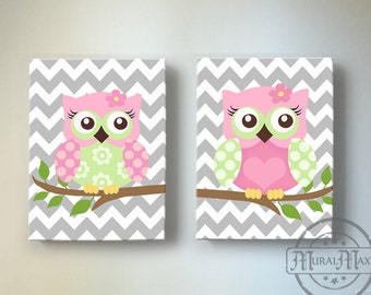 Pink and Green Owl Nursery Toddler Girls Room Art Owl Nursery Wall Art Canvas Art Set Canvas Reproduction