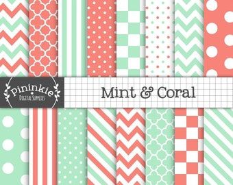 Mint and Coral Digital Paper, Coral Chevron Digital Paper, Mint Polka Dot, Diagonal Stripe, Instant Download, Commercial Use